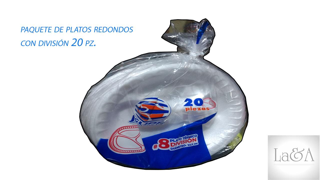 Plato Redondo C/División 20 pzs.