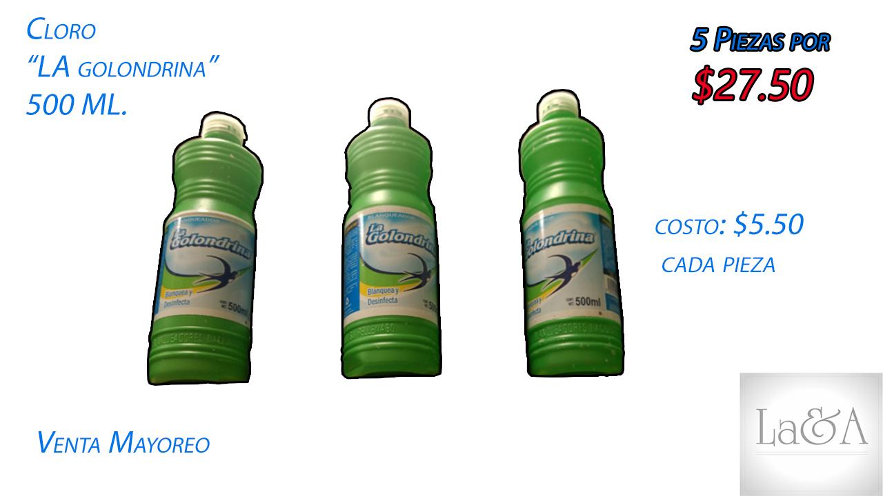 "Cloro ""La Golondrina"" 500 ml."