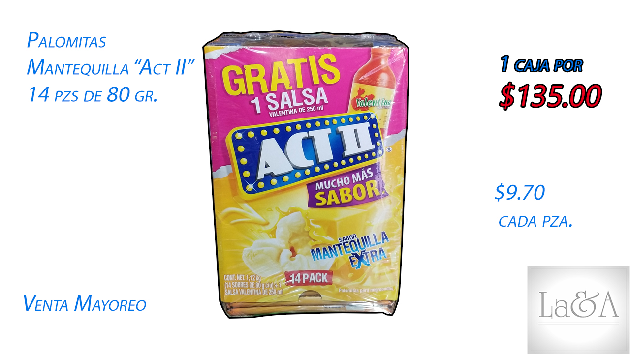 "Palomitas Mantequilla ""Act ll"" 14 pzs"