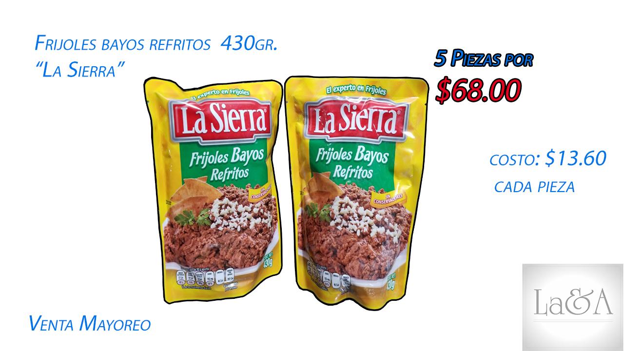 """Frijoles Bayos Refritos """"La sierra"""" 430 gr."""