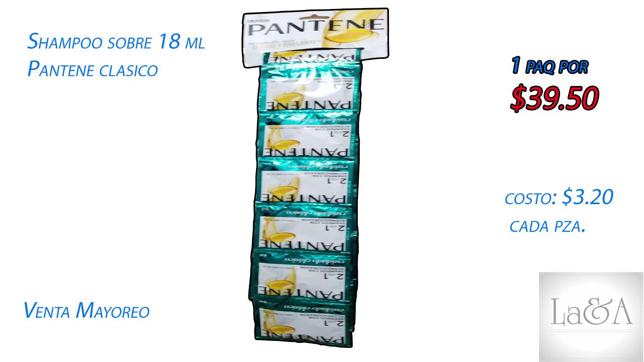 "Shampoo ""Pantene Clásico"" sobre 18ml."