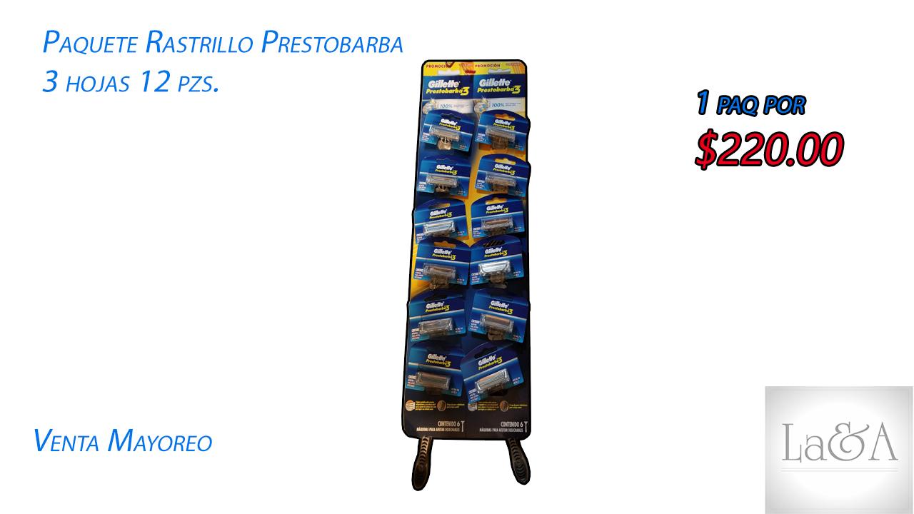 Rastrillo Prestobarba 3 hojas 12 pzs