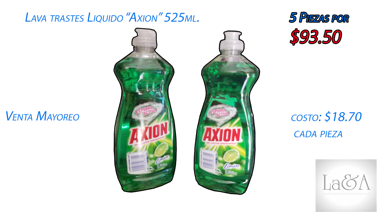 "Lava Trastes Liquido ""Axion"" 525 ml."