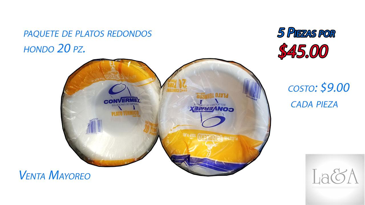 Plato Redondo Hondo 20 pzs.