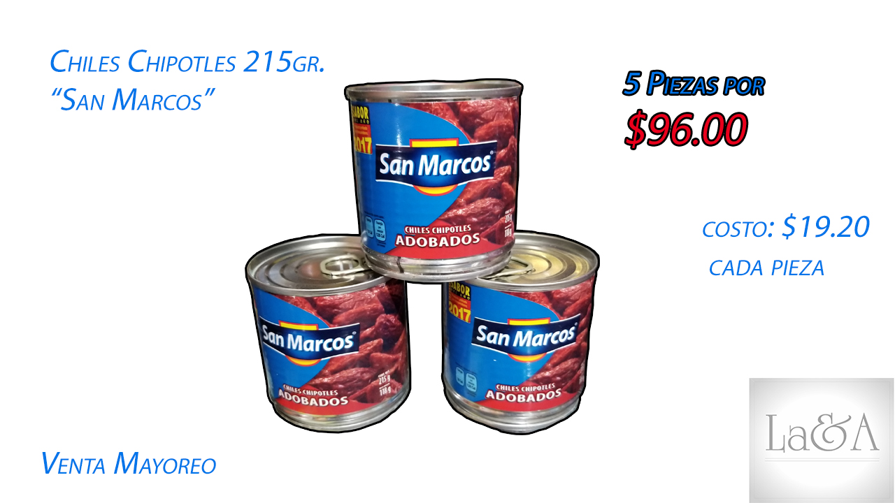 """Chiles Chipotles """"San Marcos"""" 215 gr."""