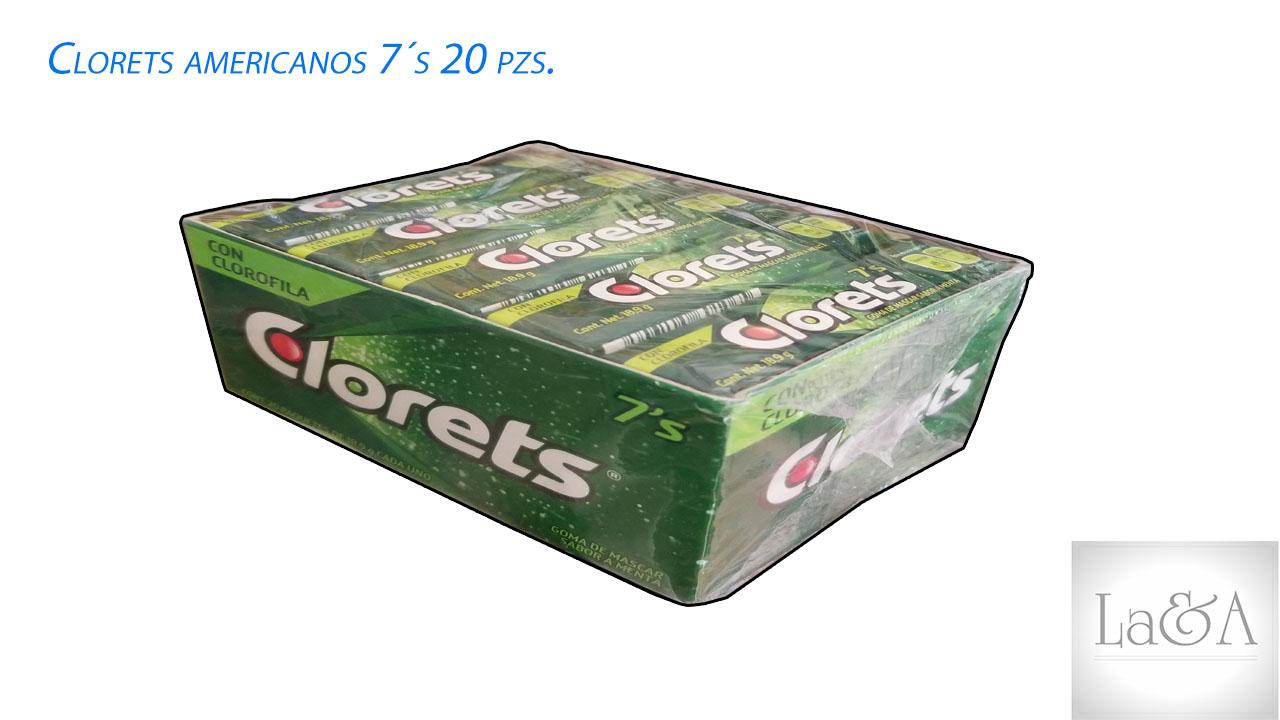 Clorets Americanos 7´s  20 pzs.